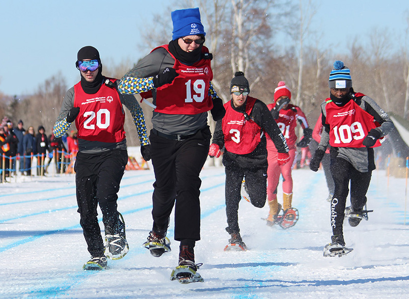 Special Olympics snowshoers competing at the 2020 National Games